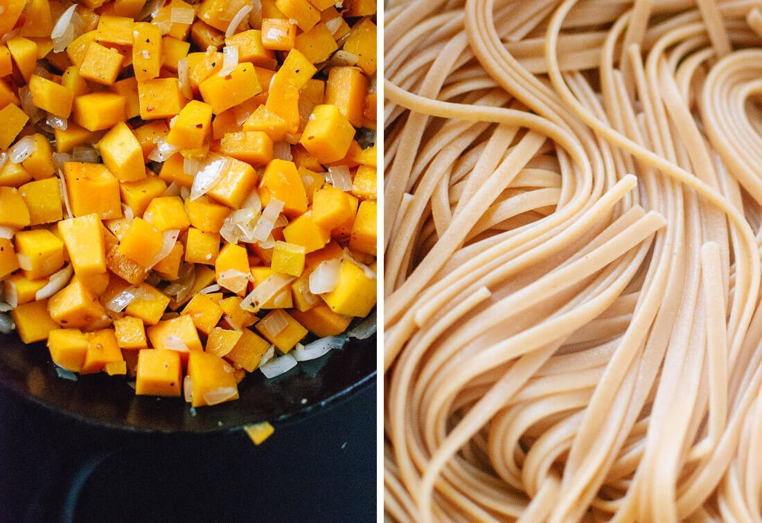 cooked butternut and linguine