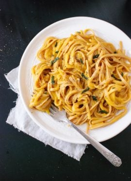 Creamy (vegan!) butternut squash linguine with fried sage - cookieandkate.com