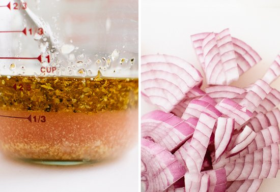 Greek salad dressing ingredients and red onion
