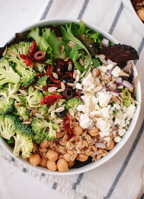 Greek salad with broccoli and sun-dried tomatoes recipe - cookieandkate.com