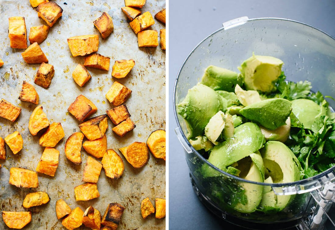 roasted sweet potatoes and avocado dip