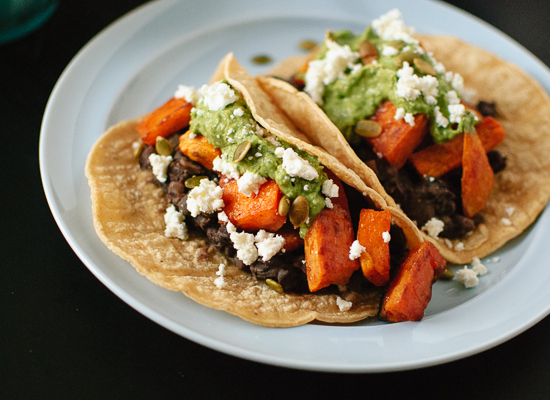 Sweet potato and black bean tacos - cookieandkate.com