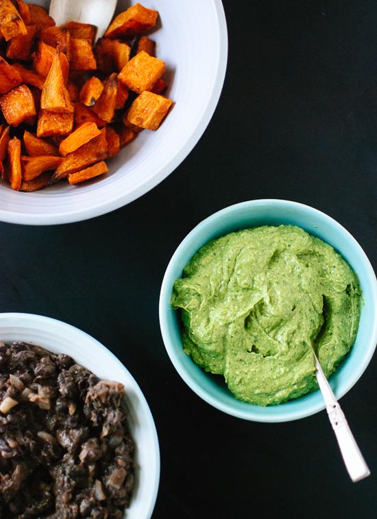 sweet, potato, black beans and avocado-pepita dip