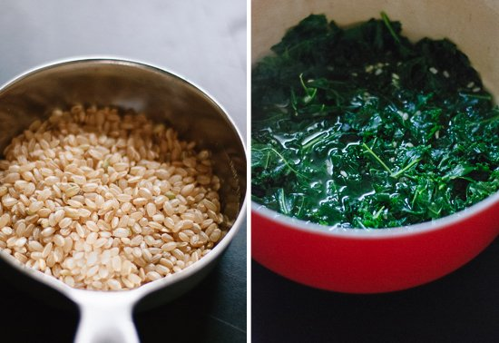 arborio rice and cooked kale