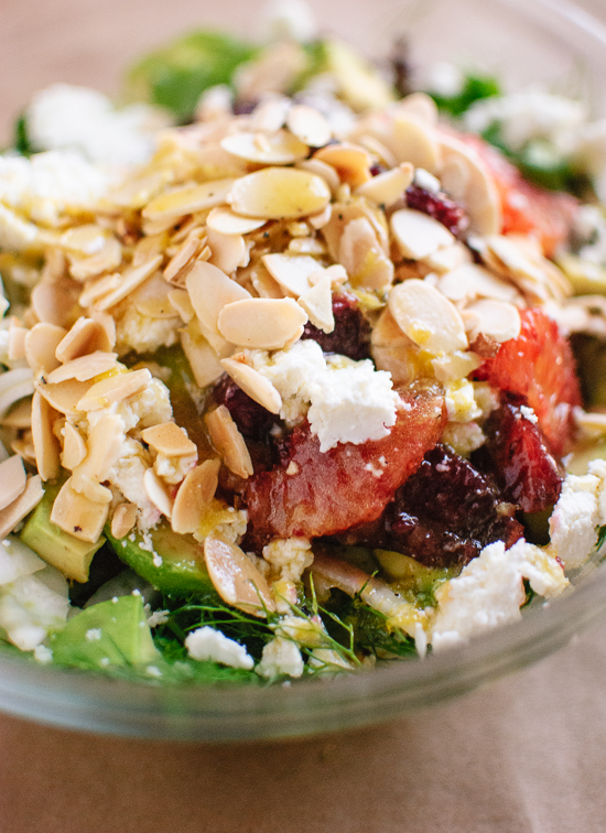 Blood orange, fennel, almond and goat cheese salad - cookieandkate.com