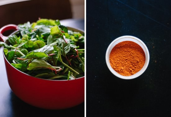 greens and cayenne pepper