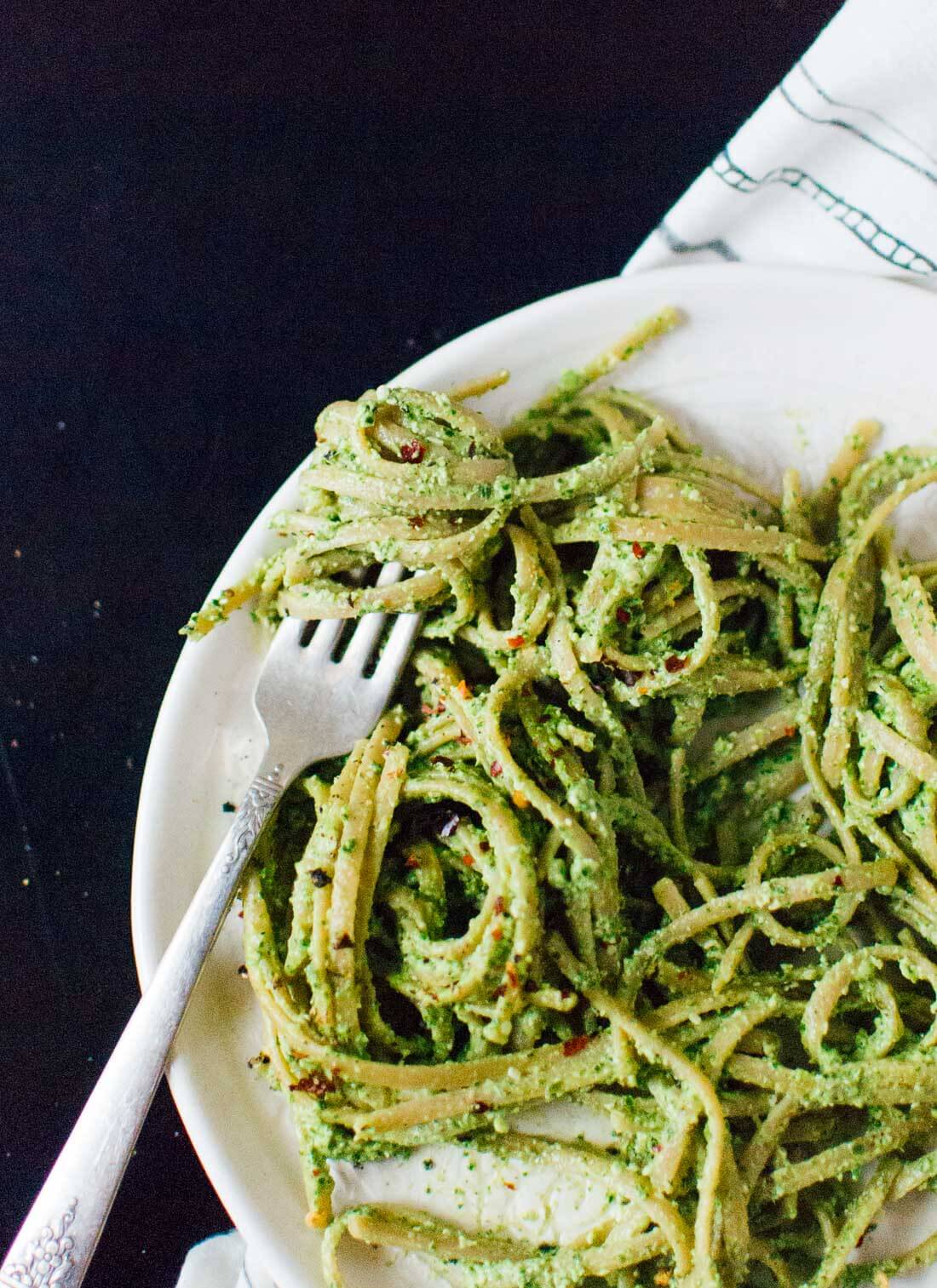 Get your greens and omega-3's with this kale pesto recipe (ready in 5 minutes!) - cookieandkate.com