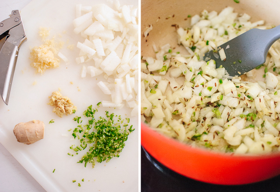 onions, garlic, ginger, and cumin