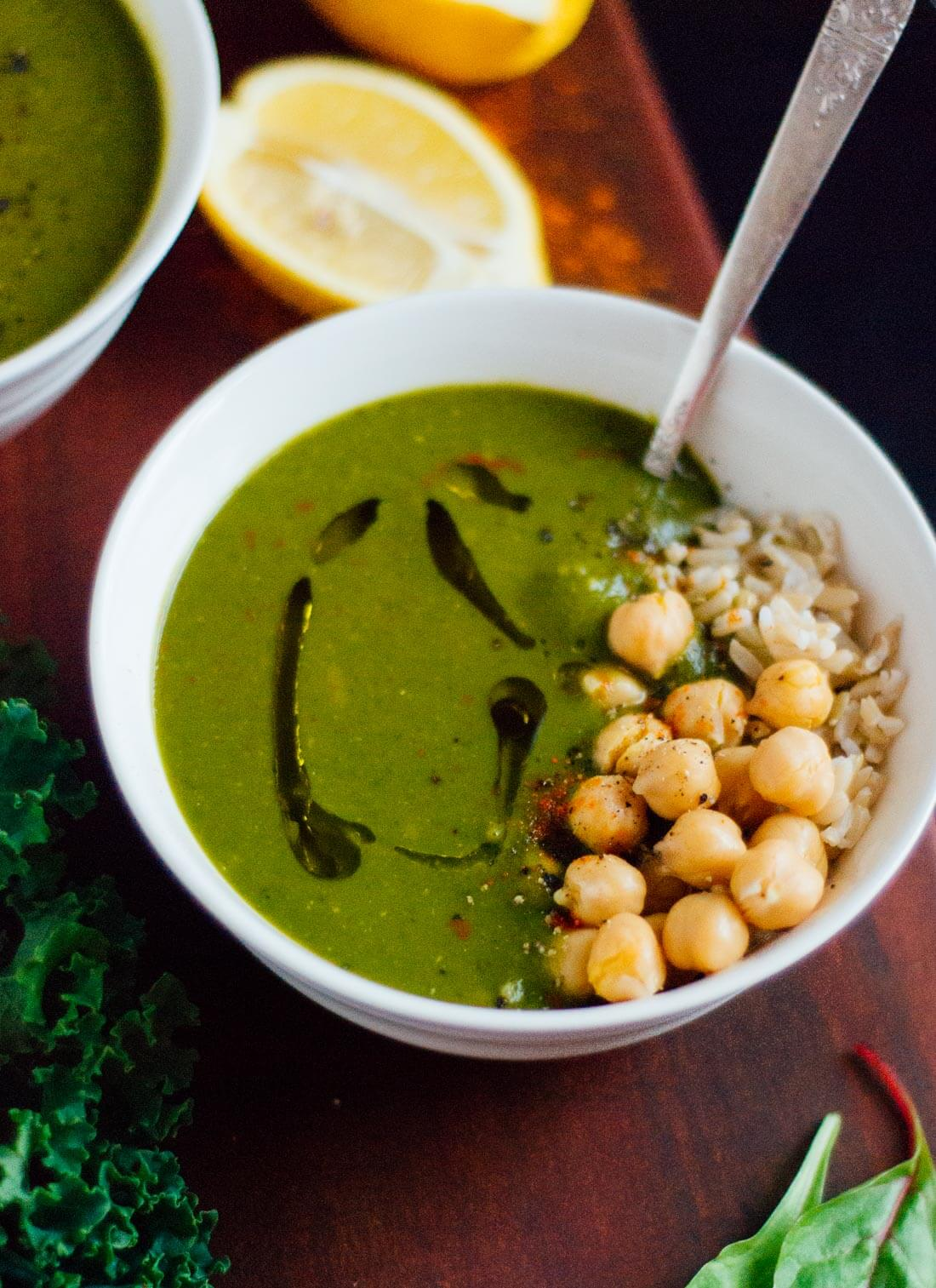 Redeeming kale and spinach soup - cookieandkate.com