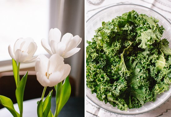 tulips and kale