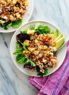 Roasted Cauliflower and Farro Salad with Feta and Avocado