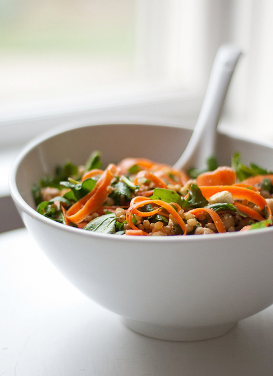 Arugula, Carrot and Chickpea Salad with Wheat Berries - cookieandkate.com