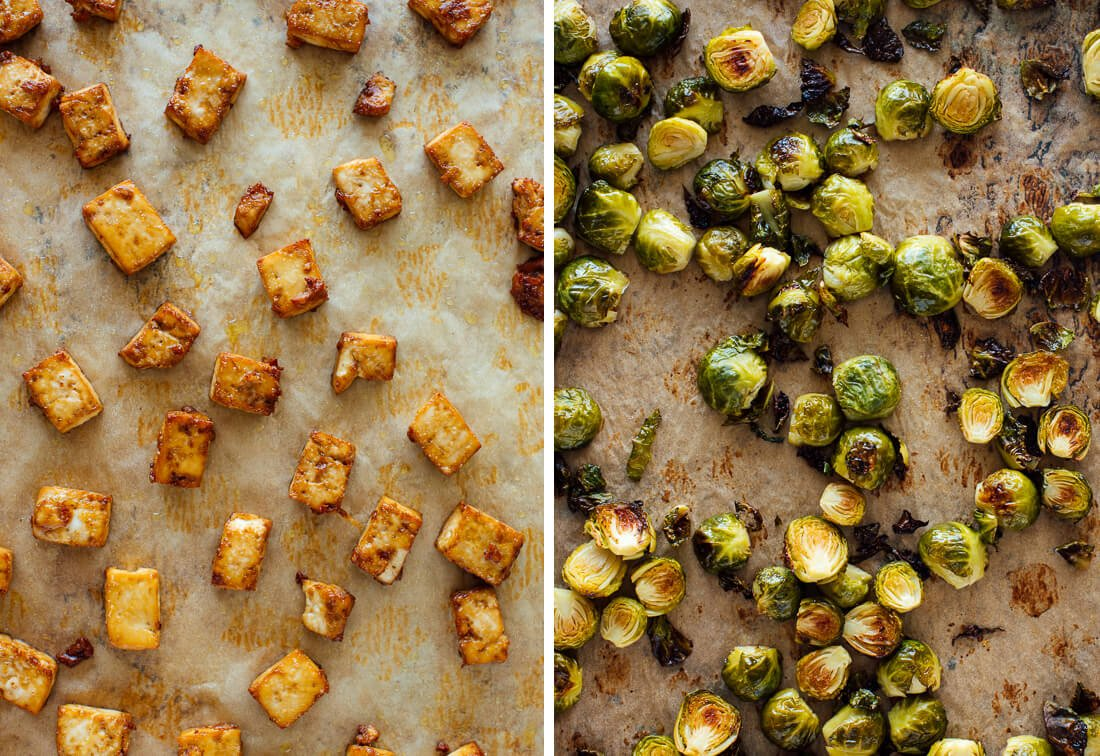 Roasted Brussels Sprouts and Crispy Baked Tofu with Honey