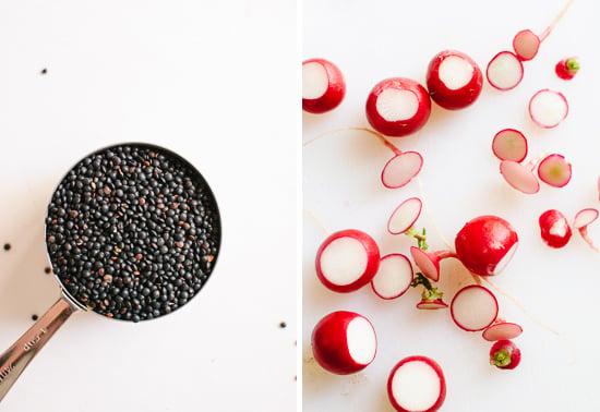 black lentils and radish