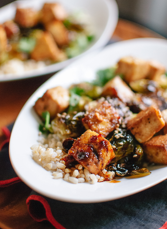 Crispy baked tofu and brussels sprouts with honey-sesame glaze recipe - cookieandkate.com