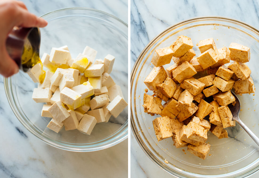 cubed tofu tossed in tamari, oil and cornstarch