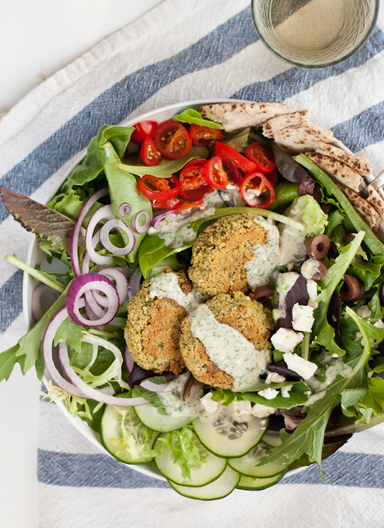 Greek Salad with Crispy Baked Falafel and Tahini Dressing - cookieandkate.com