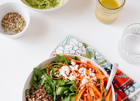 herbed avocado, lemon vinaigrette and sunflower seed salad