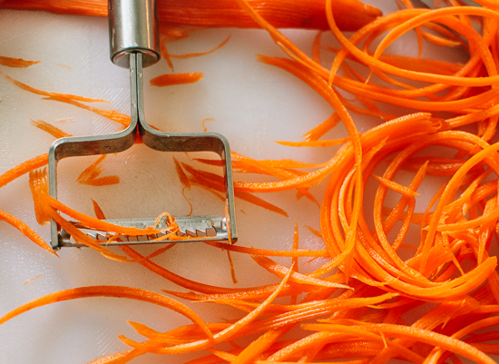 julienne peeler with carrots