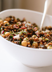 Lemony Lentil and Chickpea Salad with Radish and Herbs