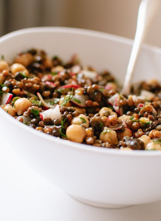 Lemony lentil and chickpea salad with radish and herbs - cookieandkate.com