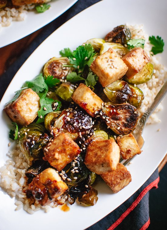 Roasted brussels sprouts and crispy baked tofu with honey-sesame glaze recipe - cookieandkate.com