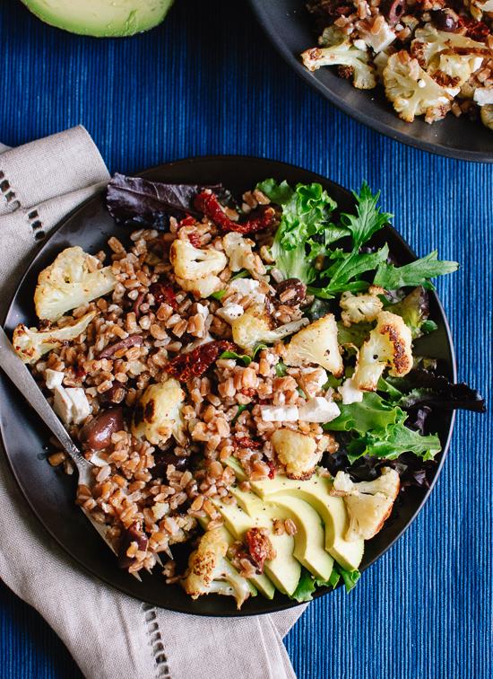 Roasted cauliflower and farro salad with feta and avocado recipe - cookieandkate.com