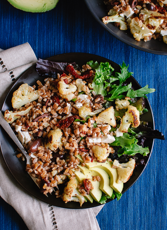 Roasted cauliflower and farro salad with feta and avocado recipe - cookieandkate.com