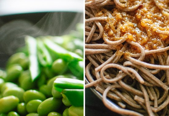 snap peas and ginger noodles