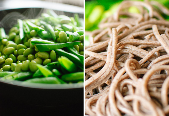 Snap peas, edamame and soba noodles