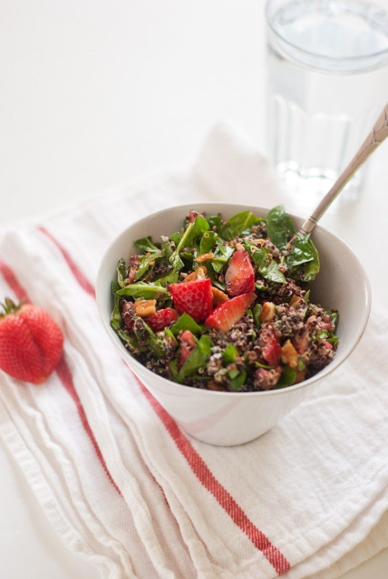 Strawberry, Quinoa and Chopped Spinach Salad - cookieandkate.com