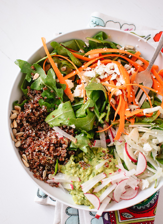Spring carrot, radish and quinoa salad with herbed avocado recipe - cookieandkate.com