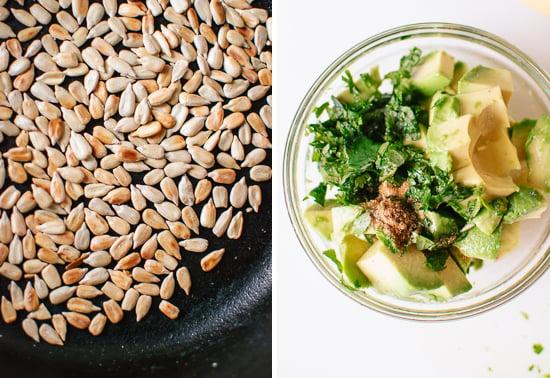 sunflower seeds and avocado