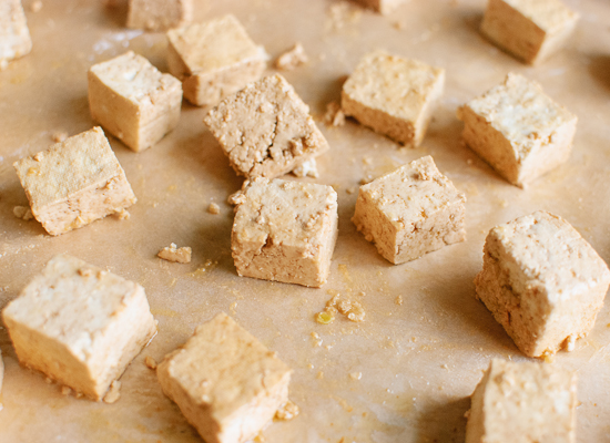 Tofu tossed in arrowroot starch