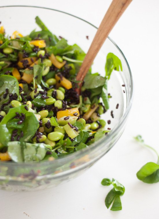 Watercress and Forbidden Rice Salad with Ginger Vinaigrette - cookieandkate.com