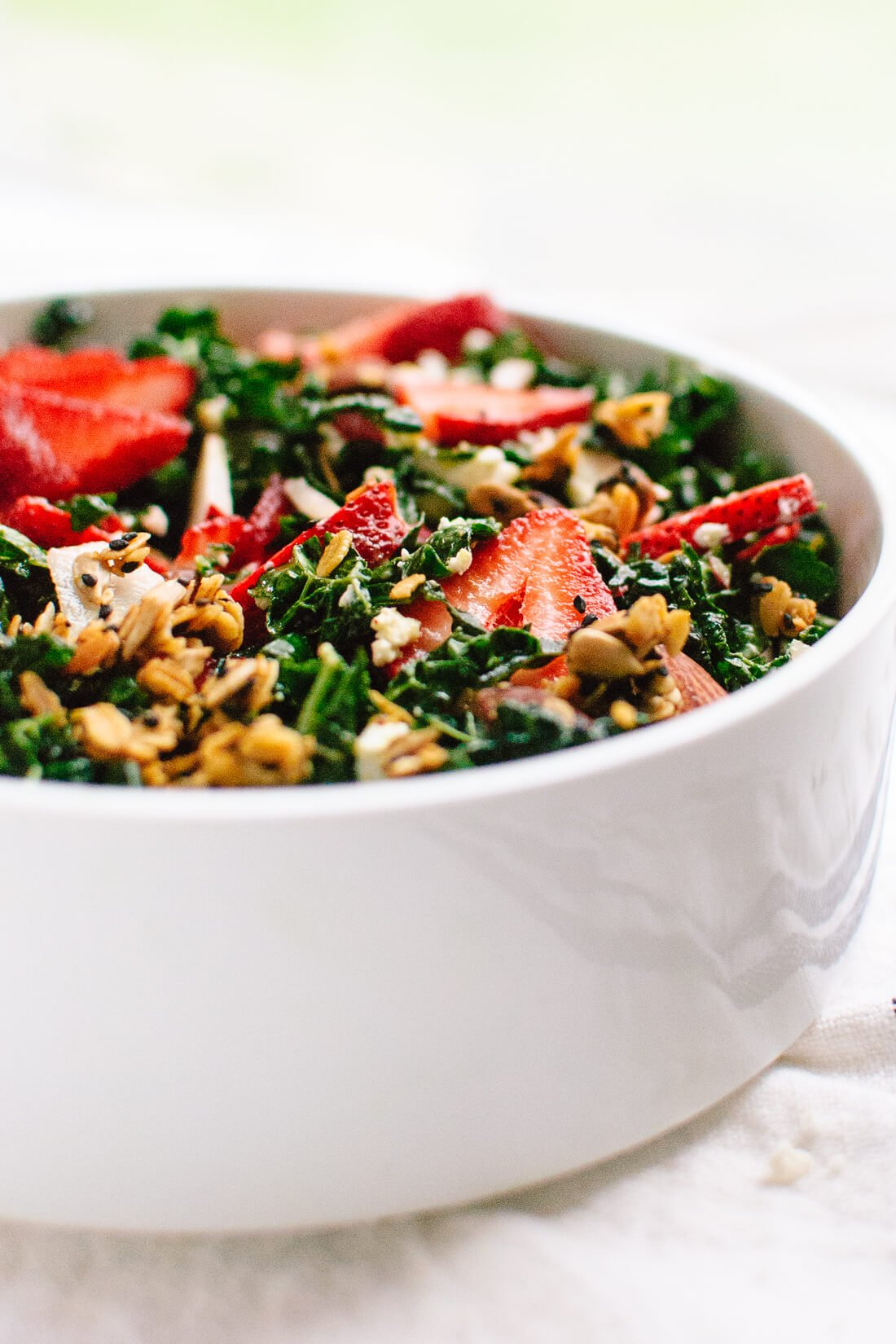 Strawberry Kale Salad with Nutty Granola Croutons