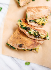 Breakfast quesadillas with scrambled eggs spinach and black beans - cookieandkate.com