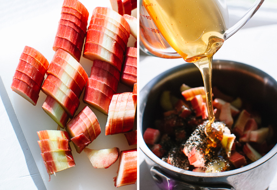 chopped rhubarb and honey