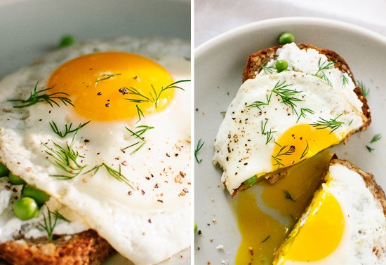 Fried egg with dill