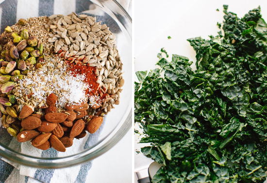 granola ingredients and kale