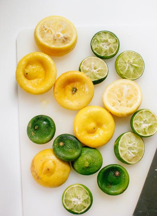 Juiced lemons and limes - cookieandkate.com