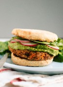 Gluten-free lentil, chickpea and carrot veggie burgers with a spicy, herbed avocado spread - cookieandkate.com