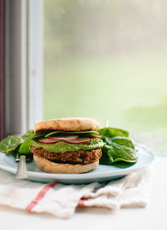 Easy lentil veggie burgers (gluten free) - cookieandkate.com