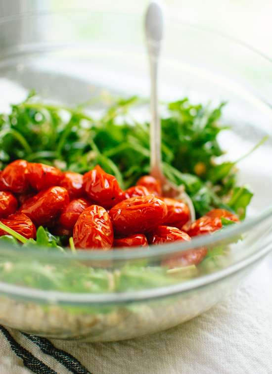 Roasted cherry tomato and arugula salad - cookieandkate.com