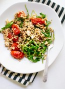 Simple sorghum salad with roasted cherry tomatoes, arugula and feta (gluten free) - cookieandkate.com
