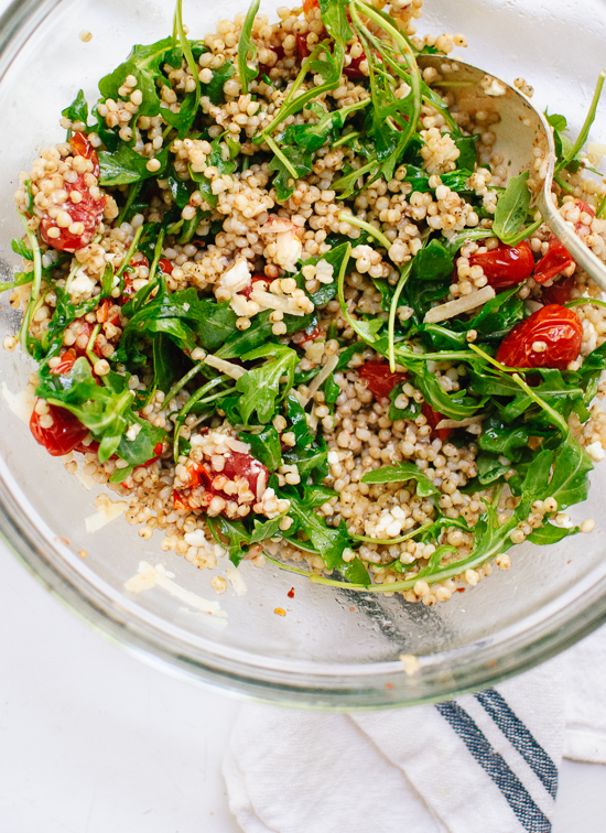 Recipe for roasted cherry tomato, arugula and sorghum salad - cookieandkate.com