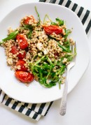 Light and healthy sorghum salad with roasted cherry tomatoes, arugula and feta (gluten free) - cookieandkate.com