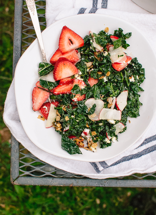 Strawberry, kale and goat cheese salad with nutty granola croutons - cookieandkate.com