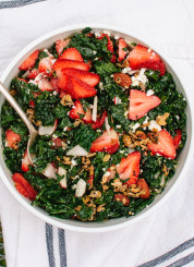 Lemony strawberry and kale salad with nutty granola croutons (SO GOOD and good for you, too!) - cookieandkate.com