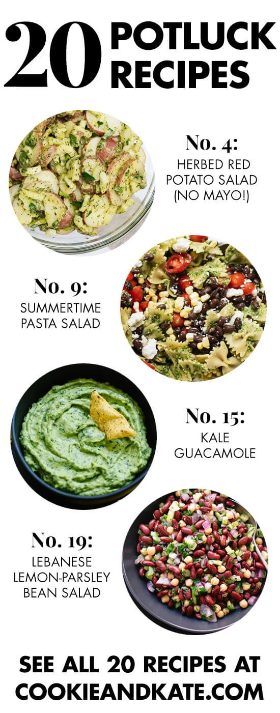 20 fresh and healthy potluck dishes for summertime! Find them all at cookieandkate.com